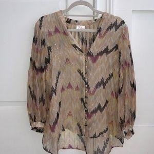Parker Blush Silk and Metallic Blouse Size XS